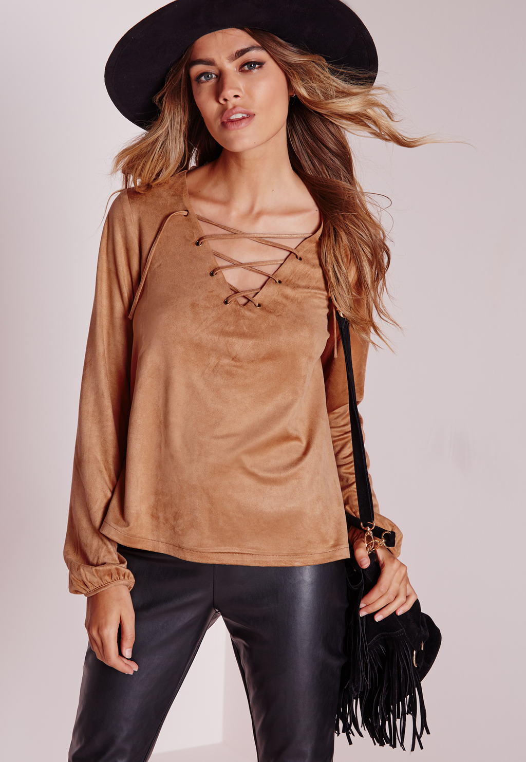 Faux Suede Lace Up Blouse Tan, Brown - neckline: low v-neck; pattern: plain; bust detail: added detail/embellishment at bust; sleeve style: balloon; style: blouse; predominant colour: camel; occasions: casual, creative work; length: standard; fibres: polyester/polyamide - 100%; fit: body skimming; sleeve length: long sleeve; pattern type: fabric; texture group: velvet/fabrics with pile; season: a/w 2015; wardrobe: highlight