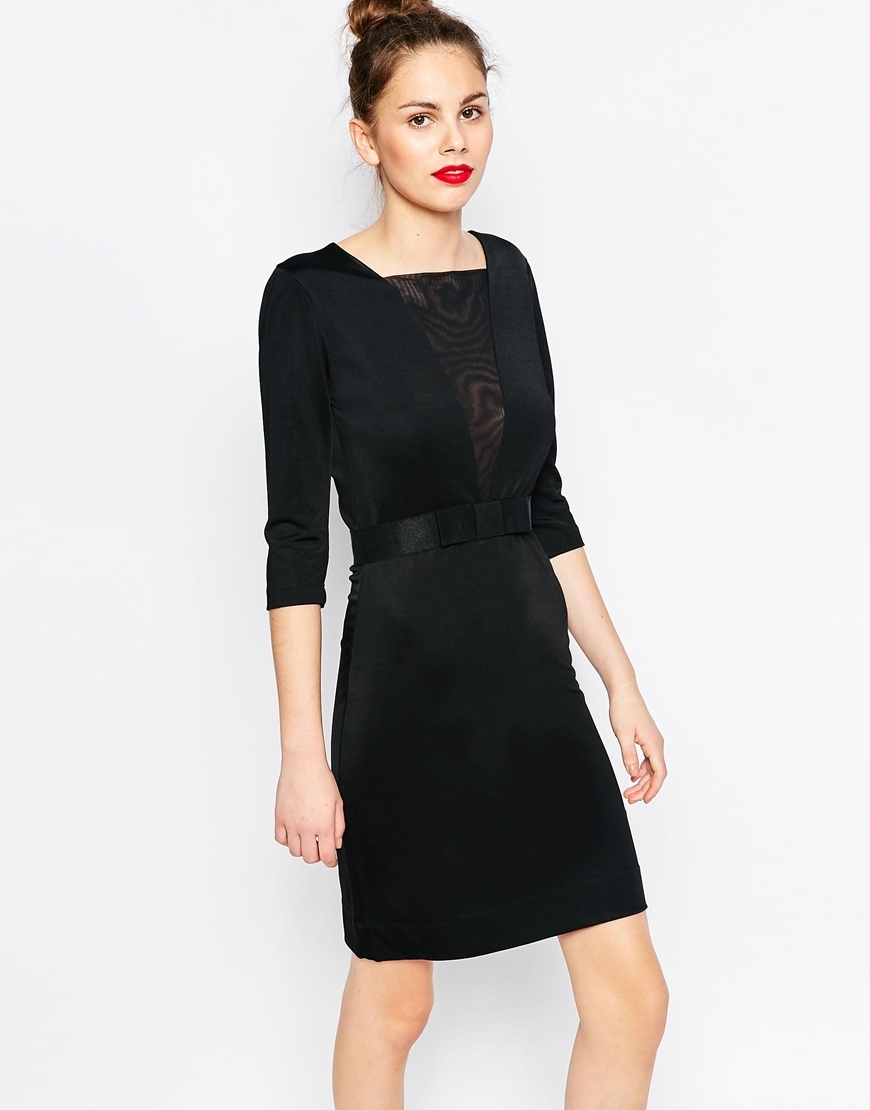 Dress With Bow Waist Black - style: shift; pattern: plain; bust detail: sheer at bust; predominant colour: black; occasions: evening; length: just above the knee; fit: body skimming; fibres: viscose/rayon - stretch; sleeve length: 3/4 length; sleeve style: standard; neckline: medium square neck; pattern type: fabric; texture group: jersey - stretchy/drapey; embellishment: lace; season: a/w 2015; wardrobe: event