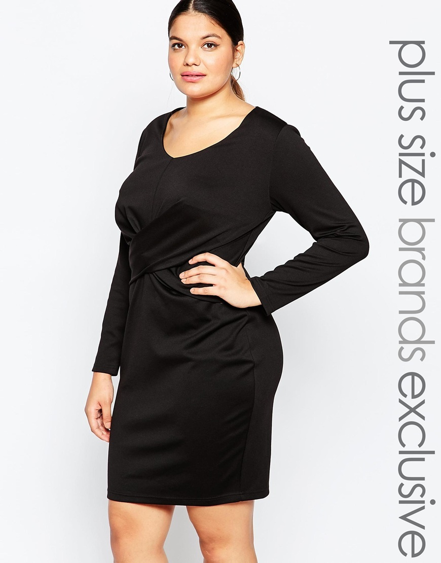 Long Sleeve Bodycon Dress With Knot Front Detail Black - predominant colour: black; season: a/w 2015