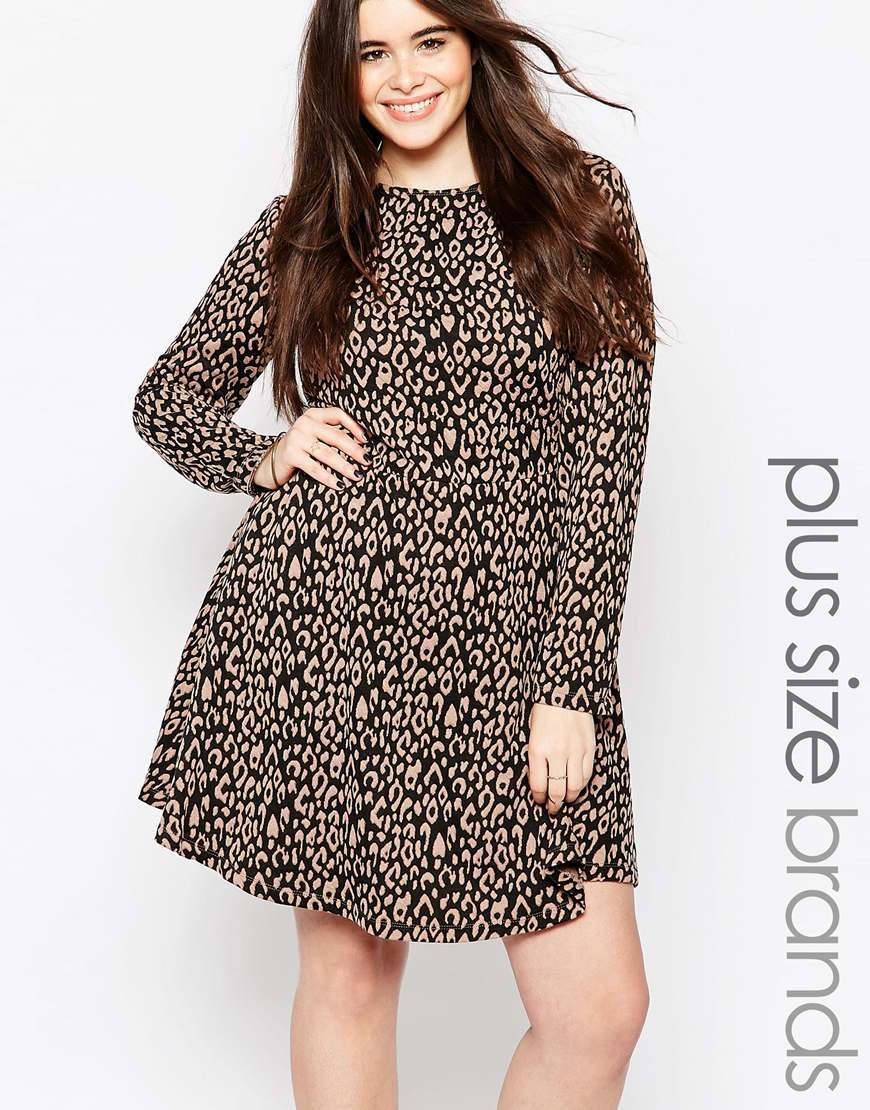 Plus Skater Dress In Animal Print Mushroom / Black - secondary colour: ivory/cream; predominant colour: black; occasions: casual, creative work; length: just above the knee; fit: fitted at waist & bust; style: fit & flare; fibres: polyester/polyamide - stretch; neckline: crew; sleeve length: long sleeve; sleeve style: standard; pattern type: fabric; pattern size: standard; pattern: animal print; texture group: jersey - stretchy/drapey; multicoloured: multicoloured; season: a/w 2015; wardrobe: highlight