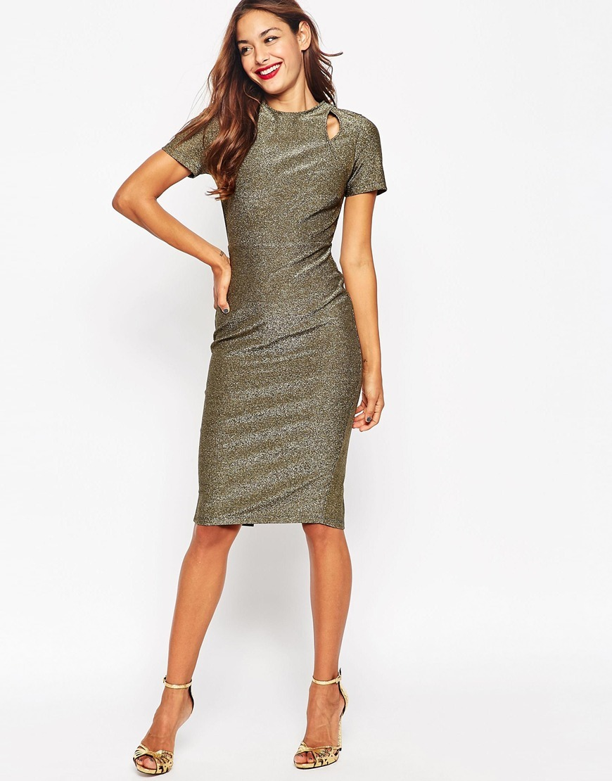 Bonded Metallic Cut Out Pencil Midi Dress Gold - length: below the knee; fit: tight; pattern: plain; style: bodycon; hip detail: draws attention to hips; predominant colour: gold; occasions: evening; fibres: polyester/polyamide - stretch; neckline: crew; sleeve length: short sleeve; sleeve style: standard; pattern type: fabric; texture group: other - clingy; season: a/w 2015; wardrobe: event