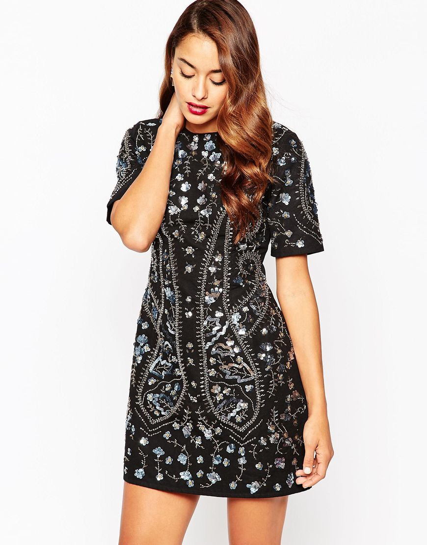 All Over Embellished Shift Dress Black - style: shift; length: mini; fit: tailored/fitted; pattern: plain; secondary colour: silver; predominant colour: black; occasions: evening; fibres: polyester/polyamide - 100%; neckline: crew; sleeve length: half sleeve; sleeve style: standard; texture group: crepes; pattern type: fabric; embellishment: crystals/glass; season: a/w 2015; wardrobe: event; embellishment location: pattern