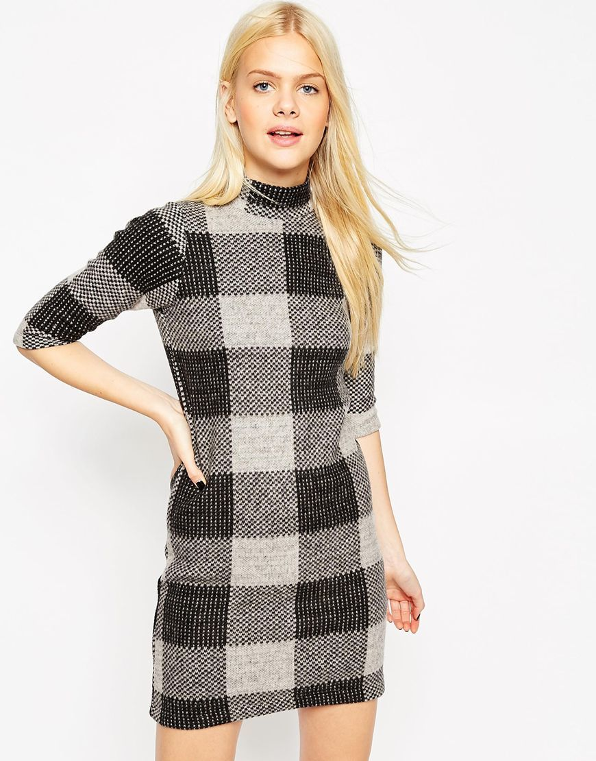 Shift Dress In Brushed Check Multi - style: shift; length: mini; neckline: high neck; pattern: checked/gingham; secondary colour: white; predominant colour: charcoal; occasions: casual; fit: body skimming; fibres: wool - mix; sleeve length: 3/4 length; sleeve style: standard; pattern type: fabric; texture group: jersey - stretchy/drapey; multicoloured: multicoloured; season: a/w 2015; wardrobe: highlight