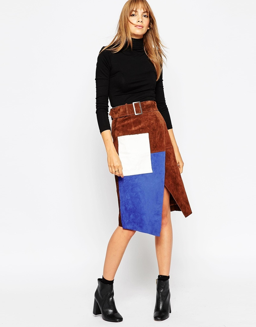 Suede Wrap Pencil Skirt In Colour Block Brown - length: below the knee; style: wrap/faux wrap; waist: high rise; waist detail: belted waist/tie at waist/drawstring; secondary colour: diva blue; predominant colour: tan; occasions: casual, creative work; fibres: leather - 100%; hip detail: slits at hip; fit: straight cut; pattern type: fabric; pattern: colourblock; texture group: suede; pattern size: big & busy (bottom); multicoloured: multicoloured; season: a/w 2015