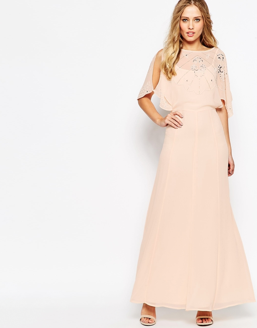 Embellished Flutter Sleeve Maxi Dress Nude - neckline: slash/boat neckline; sleeve style: angel/waterfall; fit: fitted at waist; pattern: plain; style: maxi dress; predominant colour: blush; secondary colour: silver; occasions: evening; length: floor length; fibres: polyester/polyamide - 100%; sleeve length: half sleeve; texture group: sheer fabrics/chiffon/organza etc.; pattern type: fabric; embellishment: crystals/glass; season: a/w 2015; wardrobe: event; embellishment location: top