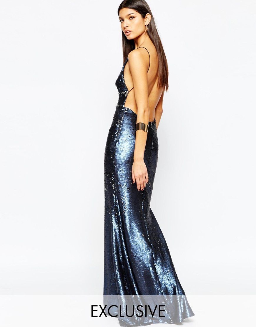 Showstopper Open Back Sequin Maxi Dress With Fishtail Petrol Blue/Silver - neckline: plunge; sleeve style: spaghetti straps; pattern: plain; style: maxi dress; back detail: back revealing; predominant colour: navy; occasions: evening; length: floor length; fit: body skimming; fibres: polyester/polyamide - 100%; sleeve length: sleeveless; pattern type: fabric; texture group: other - light to midweight; embellishment: sequins; season: a/w 2015; wardrobe: event