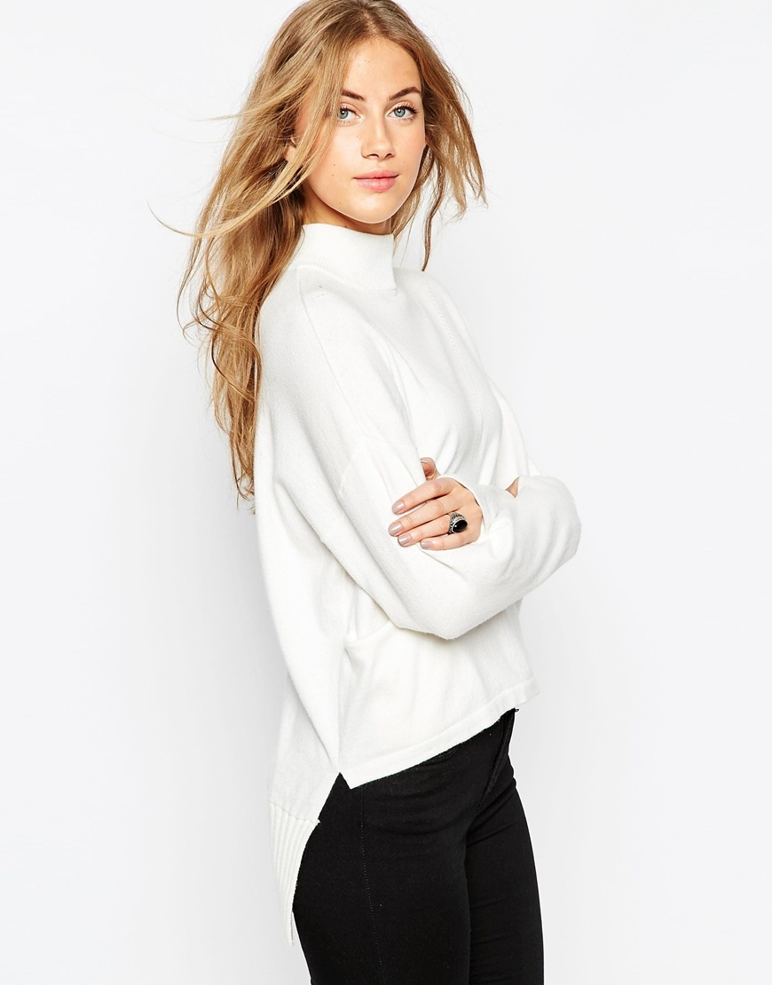 High Neck Jumper With Extreme Stepped Hem And Side Splits White - neckline: high neck; style: standard; predominant colour: white; occasions: casual, creative work; length: standard; sleeve length: long sleeve; sleeve style: standard; season: a/w 2015; wardrobe: highlight