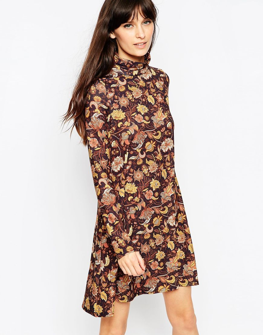 Polo Neck Dress In Paisley Print Multi - pattern: paisley; neckline: roll neck; secondary colour: blush; predominant colour: tan; occasions: casual; length: just above the knee; fit: fitted at waist & bust; style: fit & flare; fibres: polyester/polyamide - stretch; sleeve length: long sleeve; sleeve style: standard; pattern type: fabric; texture group: jersey - stretchy/drapey; multicoloured: multicoloured; season: a/w 2015; wardrobe: highlight