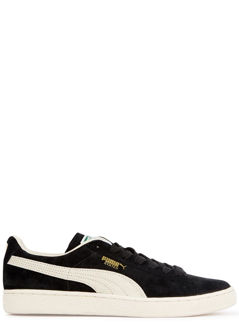 Black Suede Trainers - secondary colour: white; predominant colour: black; occasions: casual; material: suede; heel height: flat; toe: round toe; style: trainers; finish: plain; pattern: colourblock; shoe detail: moulded soul; season: a/w 2015; wardrobe: highlight