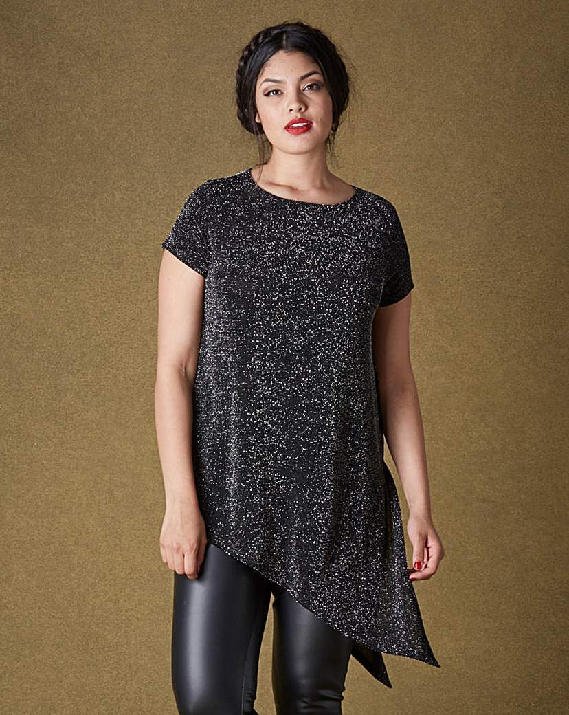 Asymmetric Metallic T Shirt - neckline: round neck; sleeve style: raglan; length: below the bottom; style: t-shirt; predominant colour: charcoal; occasions: casual; fibres: nylon - mix; fit: loose; hip detail: subtle/flattering hip detail; sleeve length: short sleeve; pattern type: fabric; pattern size: standard; texture group: jersey - stretchy/drapey; pattern: marl; season: a/w 2015; wardrobe: basic