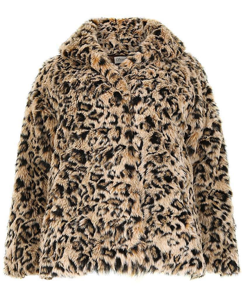 Sienna Couture Leopard Faux Fur Coat - length: standard; fit: loose; style: single breasted; predominant colour: camel; occasions: casual, creative work; fibres: polyester/polyamide - 100%; collar: shirt collar/peter pan/zip with opening; sleeve length: long sleeve; sleeve style: standard; texture group: fur; collar break: high; pattern type: fabric; pattern: animal print; pattern size: big & busy (top); season: a/w 2015; wardrobe: highlight