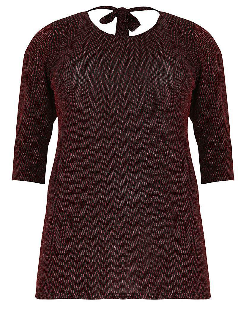 Sienna Couture Tie Back Glitter Top - pattern: plain; predominant colour: burgundy; occasions: casual; length: standard; style: top; fibres: polyester/polyamide - stretch; fit: body skimming; neckline: crew; sleeve length: short sleeve; sleeve style: standard; texture group: knits/crochet; pattern type: fabric; embellishment: glitter; season: a/w 2015; wardrobe: highlight