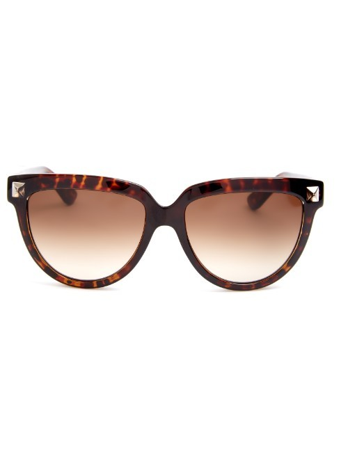 Rockstud Cat Eye Frame Sunglasses - predominant colour: chocolate brown; secondary colour: camel; occasions: casual, holiday; style: cateye; size: standard; material: plastic/rubber; pattern: tortoiseshell; finish: plain; season: a/w 2015
