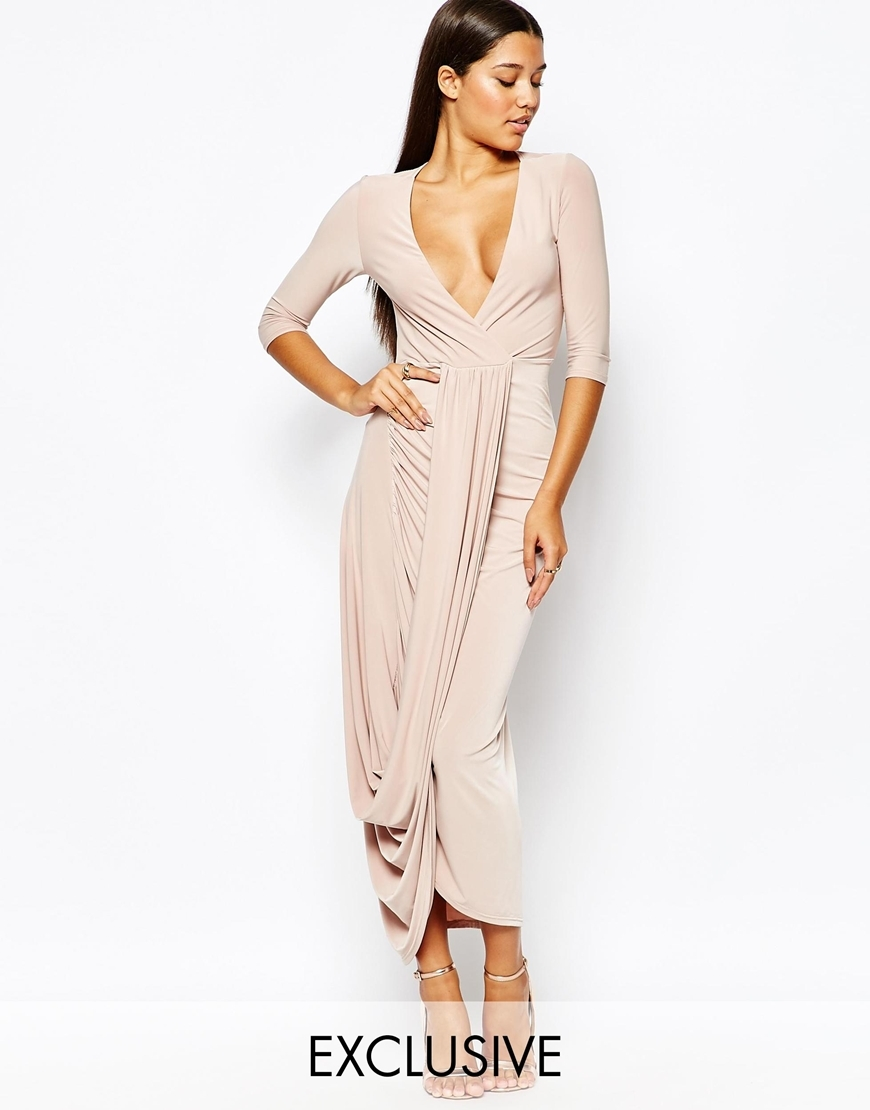 Wrap Front 3/4 Sleeve Dress Nude - style: faux wrap/wrap; neckline: plunge; pattern: plain; waist detail: flattering waist detail; predominant colour: blush; occasions: evening; length: floor length; fit: body skimming; fibres: polyester/polyamide - 100%; sleeve length: 3/4 length; sleeve style: standard; texture group: jersey - clingy; pattern type: fabric; season: a/w 2015; wardrobe: event