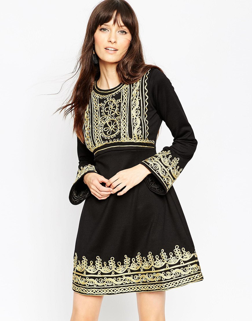 Premium Empire Mini Dress With Gold Cording Black - length: mid thigh; pattern: plain; predominant colour: gold; secondary colour: black; occasions: evening; fit: fitted at waist & bust; style: fit & flare; fibres: polyester/polyamide - stretch; neckline: crew; sleeve length: long sleeve; sleeve style: standard; pattern type: fabric; texture group: jersey - stretchy/drapey; embellishment: applique; multicoloured: multicoloured; season: a/w 2015; wardrobe: event