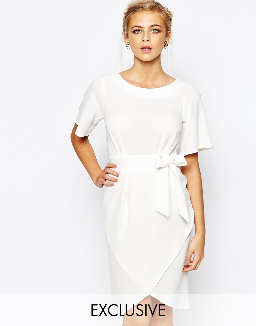 Closet Tie Front Dress With Kimono Sleeve Cream - style: shift; pattern: plain; waist detail: belted waist/tie at waist/drawstring; predominant colour: white; occasions: evening; length: on the knee; fit: body skimming; fibres: polyester/polyamide - stretch; neckline: crew; sleeve length: short sleeve; sleeve style: standard; pattern type: fabric; texture group: jersey - stretchy/drapey; season: a/w 2015; wardrobe: event