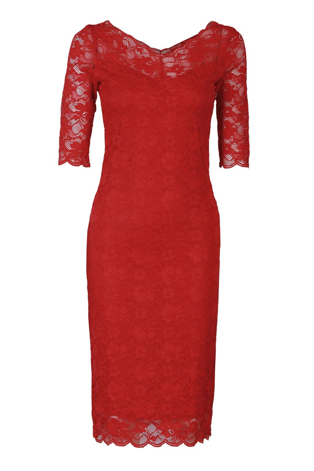 V Neck 3/4 Sleeve Lace Dress, Red - neckline: v-neck; fit: tight; style: bodycon; hip detail: draws attention to hips; predominant colour: true red; occasions: evening; length: on the knee; fibres: polyester/polyamide - 100%; sleeve length: half sleeve; sleeve style: standard; texture group: lace; pattern type: fabric; pattern size: standard; pattern: patterned/print; season: a/w 2015; wardrobe: event