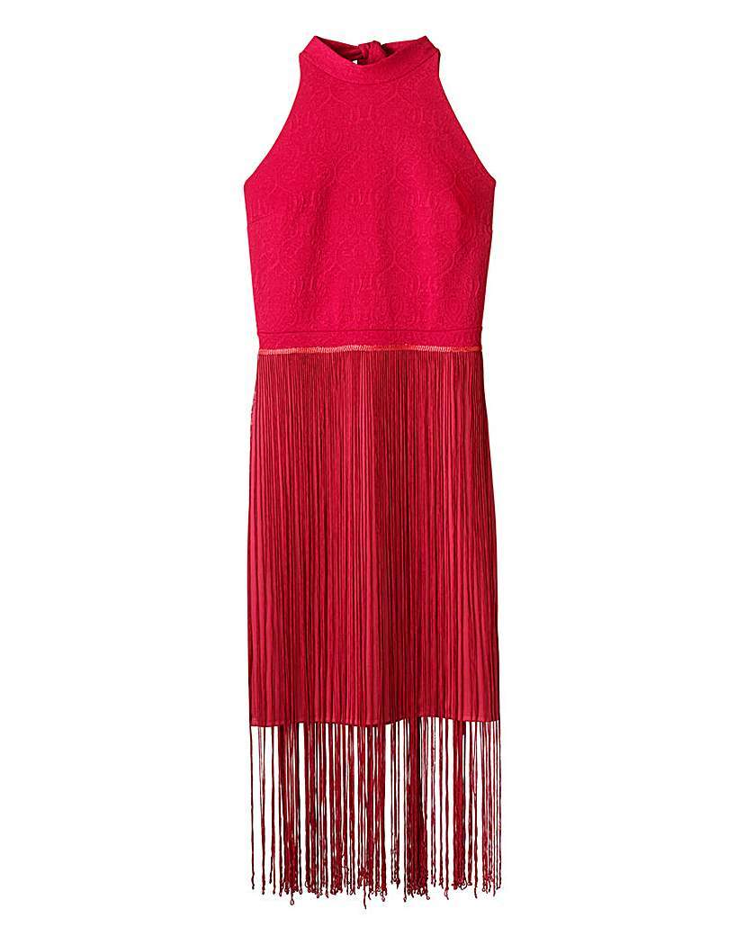 Fringed High Neck Halter Dress - style: shift; length: mini; fit: tailored/fitted; pattern: plain; sleeve style: sleeveless; neckline: high neck; occasions: evening, occasion; fibres: polyester/polyamide - 100%; sleeve length: sleeveless; texture group: crepes; pattern type: fabric; embellishment: fringing; predominant colour: raspberry; season: a/w 2015; wardrobe: event; embellishment location: hip
