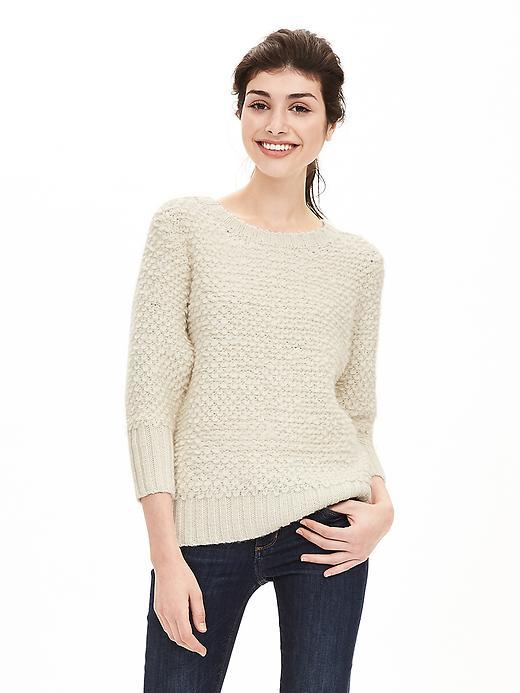 Stitch Crew Pullover Cream - pattern: plain; style: standard; predominant colour: ivory/cream; occasions: casual, creative work; length: standard; fibres: cotton - mix; fit: standard fit; neckline: crew; sleeve length: 3/4 length; sleeve style: standard; texture group: knits/crochet; pattern type: knitted - other; season: a/w 2015; wardrobe: basic