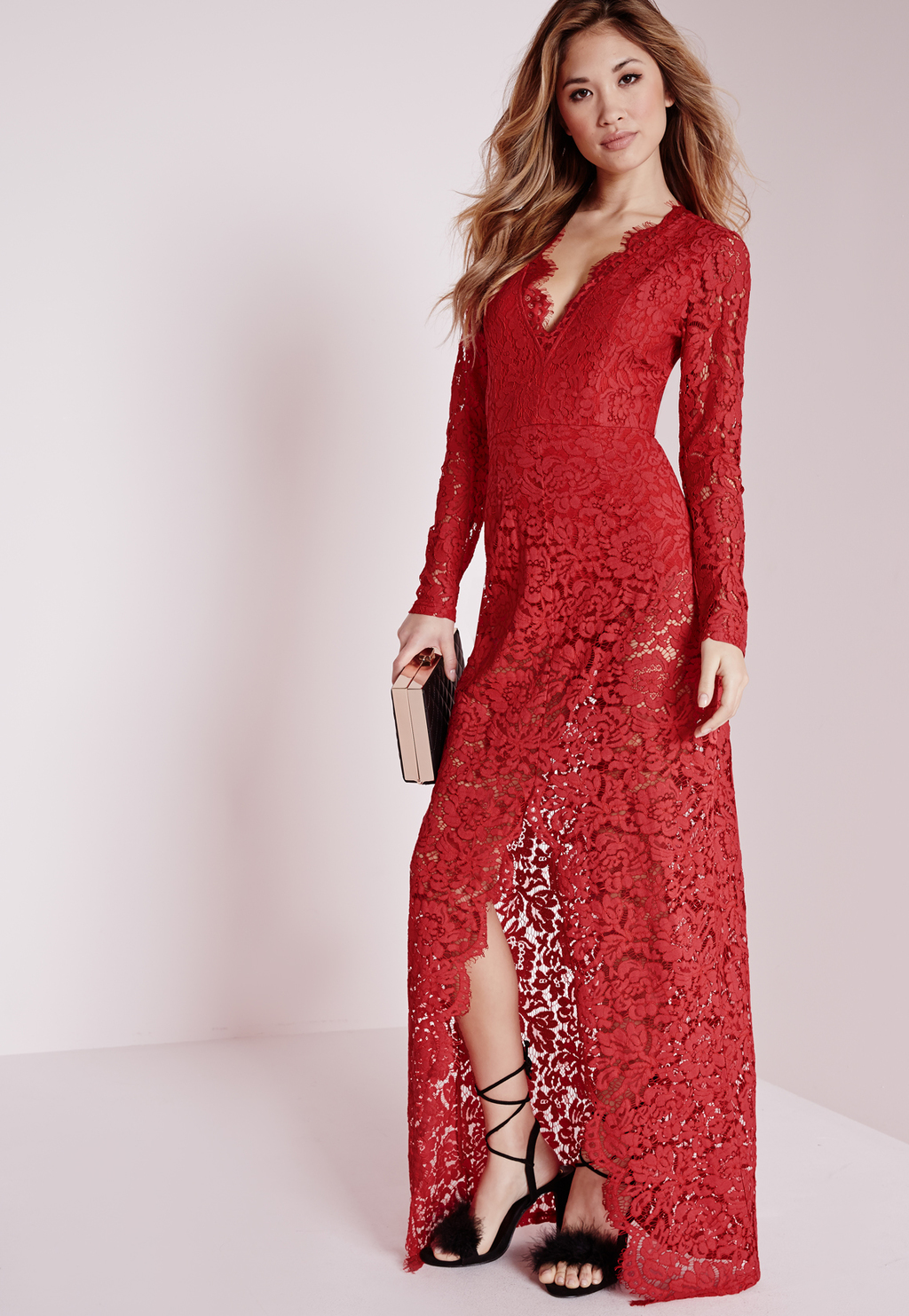 Plunge Lace Maxi Dress Red, Red - neckline: plunge; fit: tailored/fitted; style: maxi dress; predominant colour: true red; length: floor length; fibres: polyester/polyamide - 100%; occasions: occasion; sleeve length: long sleeve; sleeve style: standard; texture group: lace; pattern type: fabric; pattern size: standard; pattern: patterned/print; season: a/w 2015; wardrobe: event