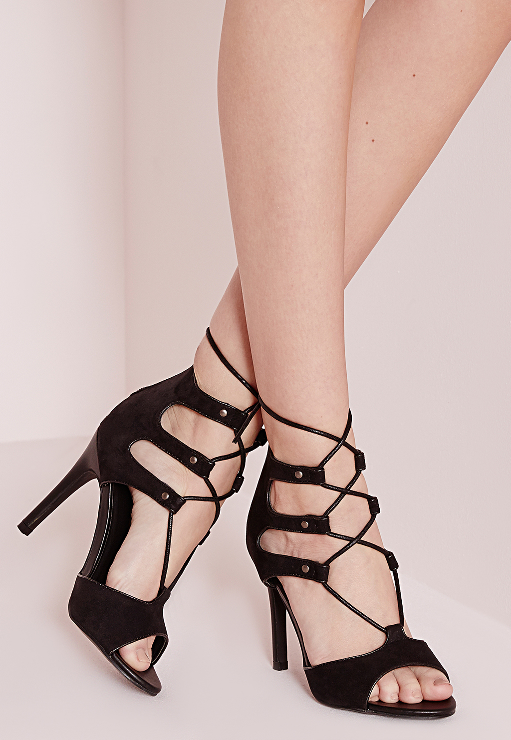 Lace Up Caged Heeled Sandals Black, Black - predominant colour: black; occasions: evening, occasion; material: faux leather; heel height: high; ankle detail: ankle tie; heel: stiletto; toe: open toe/peeptoe; style: strappy; finish: plain; pattern: plain; season: a/w 2015; wardrobe: event