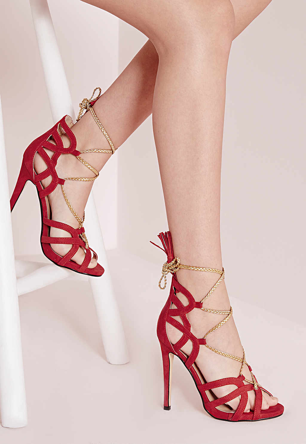 Plaited Rope Lace Up Heeled Sandals Red, Red - predominant colour: true red; occasions: evening, occasion; material: faux leather; heel height: high; ankle detail: ankle tie; heel: stiletto; toe: open toe/peeptoe; style: strappy; finish: plain; pattern: plain; season: a/w 2015; wardrobe: event