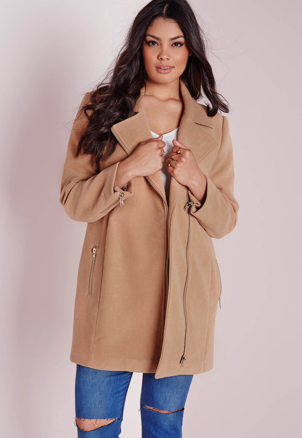Plus Size Biker Coat Camel, Beige - pattern: plain; collar: asymmetric biker; length: mid thigh; predominant colour: camel; occasions: casual, work, creative work; fit: tailored/fitted; fibres: polyester/polyamide - mix; sleeve length: long sleeve; sleeve style: standard; collar break: medium; pattern type: fabric; texture group: woven bulky/heavy; style: biker; season: a/w 2015; wardrobe: basic