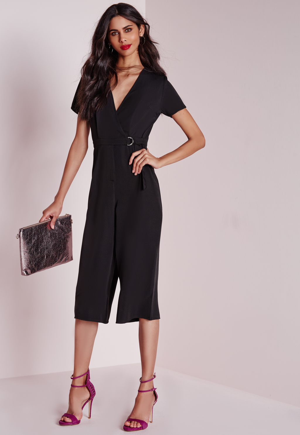 D Ring Wrap Culotte Jumpsuit Black, Black - neckline: v-neck; fit: tailored/fitted; pattern: plain; length: below the knee; predominant colour: black; occasions: evening, occasion; fibres: polyester/polyamide - stretch; sleeve length: short sleeve; sleeve style: standard; style: jumpsuit; pattern type: fabric; texture group: other - light to midweight; season: a/w 2015