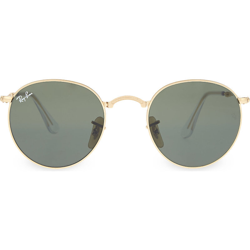 Rb3532 Fold Up Gold Toned Round Sunglasses, Women's, Gold - predominant colour: gold; occasions: casual, holiday; style: round; size: standard; material: chain/metal; pattern: plain; finish: metallic; season: a/w 2015