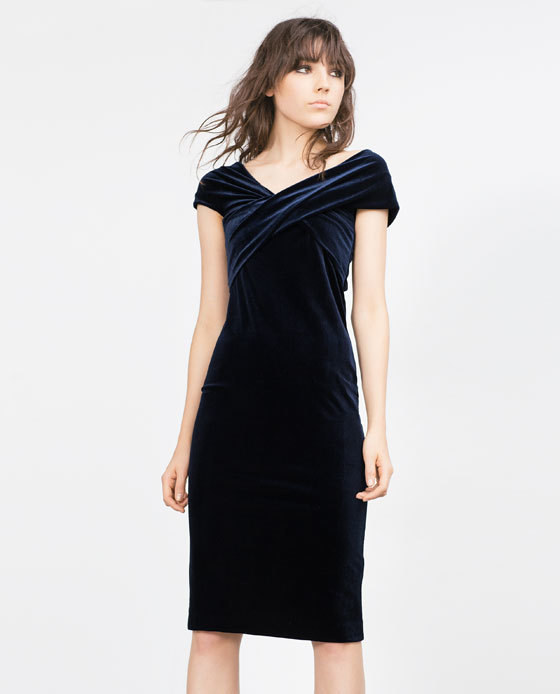 Velvet Dress - style: shift; length: below the knee; neckline: v-neck; sleeve style: capped; pattern: plain; predominant colour: navy; occasions: evening, occasion; fit: body skimming; fibres: polyester/polyamide - 100%; sleeve length: short sleeve; pattern type: fabric; texture group: velvet/fabrics with pile; season: a/w 2015; trends: romantic goth; wardrobe: event