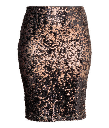 + Sequined Skirt - pattern: plain; fit: tight; waist: high rise; predominant colour: gold; occasions: evening; length: on the knee; fibres: polyester/polyamide - 100%; style: tube; pattern type: fabric; texture group: other - light to midweight; season: a/w 2015