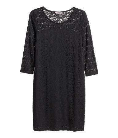+ Lace Dress - length: mid thigh; neckline: round neck; fit: tight; style: bodycon; predominant colour: black; occasions: evening; fibres: polyester/polyamide - 100%; sleeve length: 3/4 length; sleeve style: standard; texture group: lace; pattern type: fabric; pattern: patterned/print; shoulder detail: sheer at shoulder; season: a/w 2015; wardrobe: event