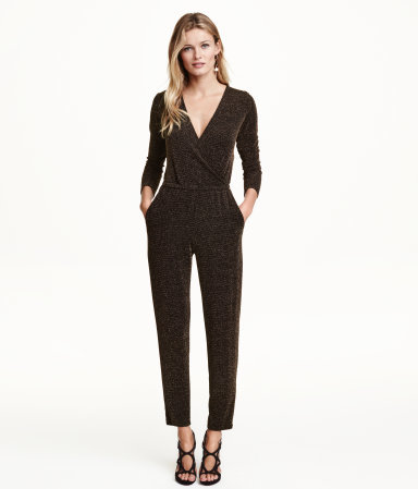 Glittery Jumpsuit - neckline: low v-neck; pattern: plain; predominant colour: bronze; occasions: evening, occasion; length: ankle length; fit: body skimming; fibres: polyester/polyamide - stretch; sleeve length: 3/4 length; sleeve style: standard; texture group: jersey - clingy; style: jumpsuit; pattern type: fabric; season: a/w 2015; wardrobe: event