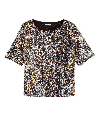 Sequined Blouse - neckline: round neck; sleeve style: raglan; pattern: plain; length: cropped; style: t-shirt; secondary colour: silver; predominant colour: gold; occasions: evening, occasion; fibres: polyester/polyamide - 100%; fit: body skimming; sleeve length: short sleeve; pattern type: fabric; texture group: other - light to midweight; season: a/w 2015; wardrobe: event