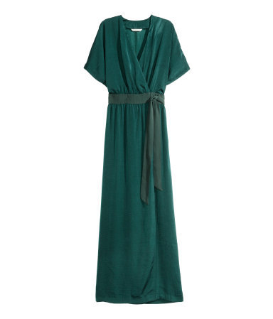 Satin Wrap Dress - neckline: low v-neck; fit: fitted at waist; pattern: plain; style: maxi dress; predominant colour: emerald green; length: floor length; occasions: occasion; sleeve length: short sleeve; sleeve style: standard; pattern type: fabric; texture group: other - light to midweight; season: a/w 2015; wardrobe: event