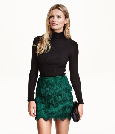 Fringed Skirt - length: mini; pattern: plain; fit: tailored/fitted; waist: high rise; predominant colour: emerald green; occasions: evening; style: mini skirt; fibres: polyester/polyamide - stretch; pattern type: fabric; texture group: other - light to midweight; embellishment: fringing; season: a/w 2015; wardrobe: event; embellishment location: all over