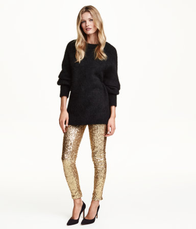 Sequined Trousers - pattern: plain; style: leggings; waist: mid/regular rise; predominant colour: gold; occasions: evening; length: ankle length; fibres: polyester/polyamide - 100%; fit: skinny/tight leg; pattern type: fabric; texture group: other - light to midweight; embellishment: sequins; season: a/w 2015; wardrobe: event; embellishment location: all over