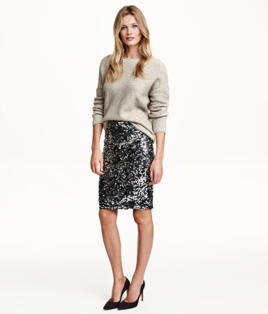 Sequined Skirt - style: pencil; fit: tailored/fitted; waist detail: elasticated waist; waist: mid/regular rise; predominant colour: charcoal; secondary colour: black; occasions: evening, occasion; length: just above the knee; fibres: cotton - stretch; pattern type: fabric; pattern: patterned/print; texture group: jersey - stretchy/drapey; embellishment: sequins; pattern size: standard (bottom); season: a/w 2015; wardrobe: event; embellishment location: all over