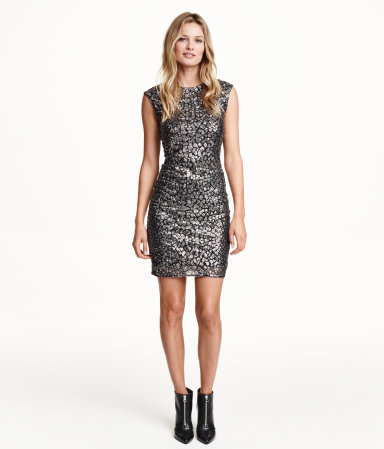 Sequined Dress - length: mid thigh; sleeve style: capped; fit: tight; style: bodycon; occasions: evening; fibres: polyester/polyamide - stretch; neckline: crew; sleeve length: sleeveless; pattern type: fabric; pattern size: standard; pattern: patterned/print; texture group: other - clingy; embellishment: sequins; predominant colour: pewter; season: a/w 2015; wardrobe: event; embellishment location: all over