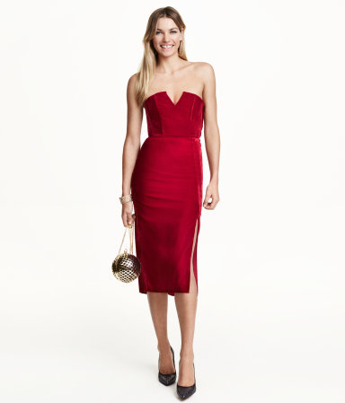 Bandeau Velvet Dress - style: shift; length: below the knee; neckline: strapless (straight/sweetheart); fit: tailored/fitted; pattern: plain; sleeve style: sleeveless; predominant colour: true red; occasions: evening, occasion; fibres: polyester/polyamide - 100%; sleeve length: sleeveless; pattern type: fabric; texture group: velvet/fabrics with pile; season: a/w 2015; wardrobe: event