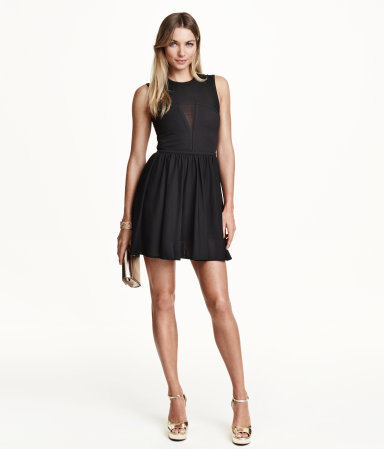 Sleeveless Mesh Dress - length: mini; pattern: plain; sleeve style: sleeveless; predominant colour: black; occasions: evening; fit: fitted at waist & bust; style: fit & flare; fibres: polyester/polyamide - stretch; neckline: crew; sleeve length: sleeveless; pattern type: fabric; texture group: jersey - stretchy/drapey; season: a/w 2015; wardrobe: event
