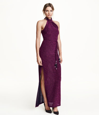 Glittery Long Dress - pattern: plain; sleeve style: sleeveless; style: maxi dress; length: ankle length; neckline: low halter neck; waist detail: belted waist/tie at waist/drawstring; predominant colour: purple; occasions: evening; fit: body skimming; fibres: polyester/polyamide - 100%; hip detail: slits at hip; sleeve length: sleeveless; pattern type: fabric; texture group: jersey - stretchy/drapey; embellishment: glitter; season: a/w 2015; wardrobe: event