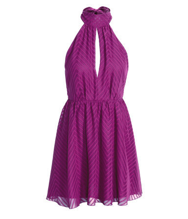 Halterneck Dress - length: mini; pattern: plain; sleeve style: sleeveless; neckline: low halter neck; back detail: low cut/open back; predominant colour: magenta; occasions: evening; fit: fitted at waist & bust; style: fit & flare; fibres: polyester/polyamide - 100%; hip detail: soft pleats at hip/draping at hip/flared at hip; sleeve length: sleeveless; texture group: sheer fabrics/chiffon/organza etc.; pattern type: fabric; season: a/w 2015
