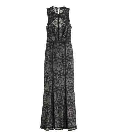 Long Lace Dress - sleeve style: sleeveless; style: maxi dress; length: ankle length; predominant colour: black; occasions: evening; fit: body skimming; fibres: polyester/polyamide - 100%; neckline: crew; back detail: keyhole/peephole detail at back; sleeve length: sleeveless; texture group: lace; pattern type: fabric; pattern size: standard; pattern: patterned/print; embellishment: lace; season: a/w 2015; wardrobe: event; embellishment location: pattern