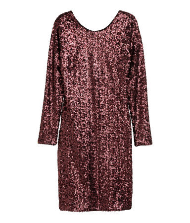Sequined Dress - style: shift; length: mid thigh; pattern: plain; back detail: back revealing; predominant colour: burgundy; occasions: evening; fit: body skimming; fibres: polyester/polyamide - 100%; neckline: crew; sleeve length: long sleeve; sleeve style: standard; pattern type: fabric; texture group: other - light to midweight; embellishment: sequins; season: a/w 2015; wardrobe: event; embellishment location: all over