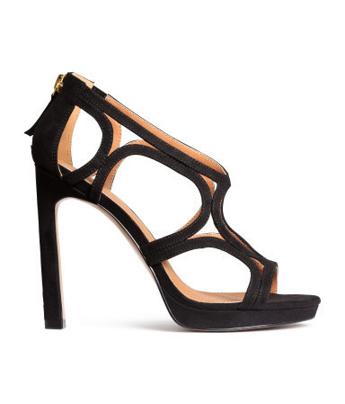 Sandals - predominant colour: black; occasions: evening, occasion; material: suede; heel height: high; heel: standard; toe: open toe/peeptoe; style: strappy; finish: plain; pattern: plain; season: a/w 2015; wardrobe: event