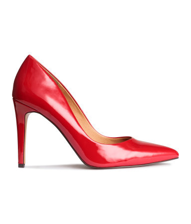 Court Shoes - predominant colour: true red; occasions: evening, work, occasion; material: faux leather; heel height: high; heel: stiletto; toe: pointed toe; style: courts; finish: patent; pattern: plain; season: a/w 2015; wardrobe: highlight