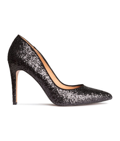 Court Shoes - predominant colour: black; occasions: evening, occasion; material: faux leather; heel height: high; embellishment: glitter; heel: stiletto; toe: pointed toe; style: courts; finish: metallic; pattern: plain; season: a/w 2015