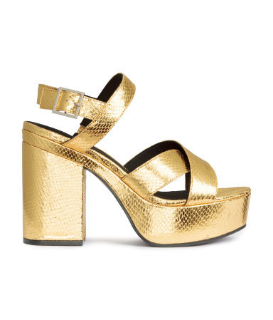 Platform Sandals - predominant colour: gold; occasions: evening, occasion; material: faux leather; heel height: high; ankle detail: ankle strap; heel: block; toe: open toe/peeptoe; style: strappy; finish: metallic; pattern: plain; shoe detail: platform; season: a/w 2015; wardrobe: event