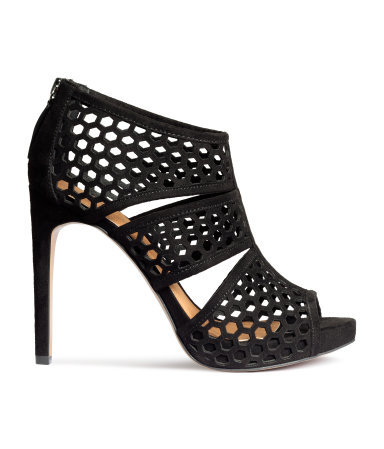 Sandals - predominant colour: black; occasions: evening, occasion; material: suede; heel height: high; heel: stiletto; toe: open toe/peeptoe; style: strappy; finish: plain; pattern: plain; season: a/w 2015; wardrobe: event